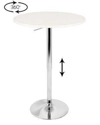 LumiSource : Adjustable Bar Table   White