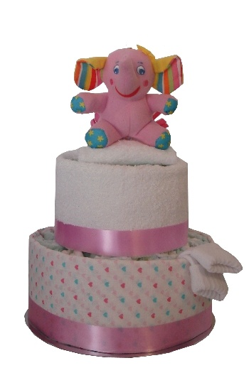 Two Tier Sweet Heart Nappy Cake    $62.00  26 Huggies newborn nappies  1 coloured cotton muslin wrap  1 White Cloth Nappy  1 newborn socks  1 cotton face washer  1 elephant toy