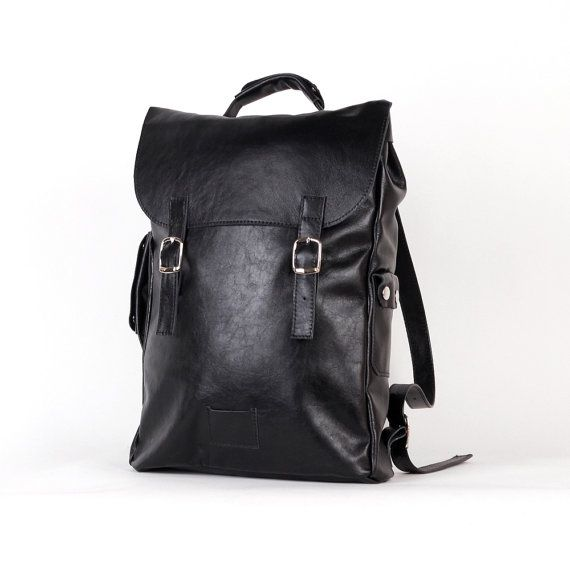 Black large leather backpack rucksack / To order / by kokosina