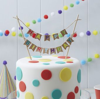 Add a touch of fun to your birthday cake with our Happy Birthday cake bunting!