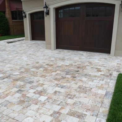 Travertine Pavers Driveway - looks way better than just concrete!