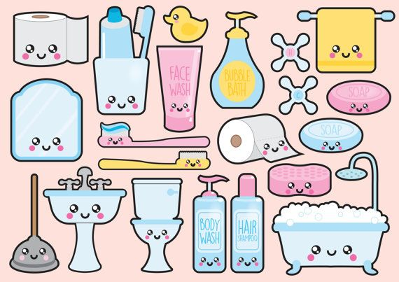 Premium Vector Clipart Kawaii Bathroom by LookLookPrettyPaper