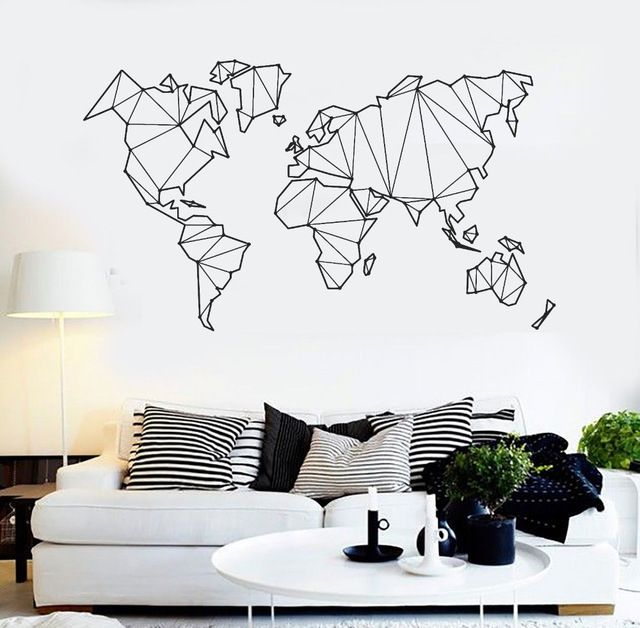 Map Of The World Vinyl Wall Decal Home Decor Living Room Geometric Removable Abstract World Map Wall St Decoração De Parede única Decoração De Parede Decoração