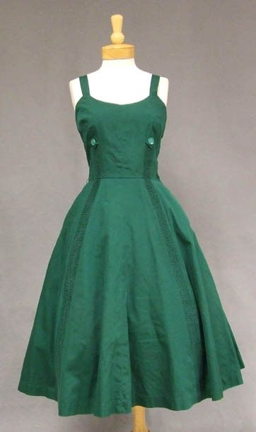 Hunter Green Cotton 1950's Summer Dress w/ Pleated Insets - Vintageous, LLC