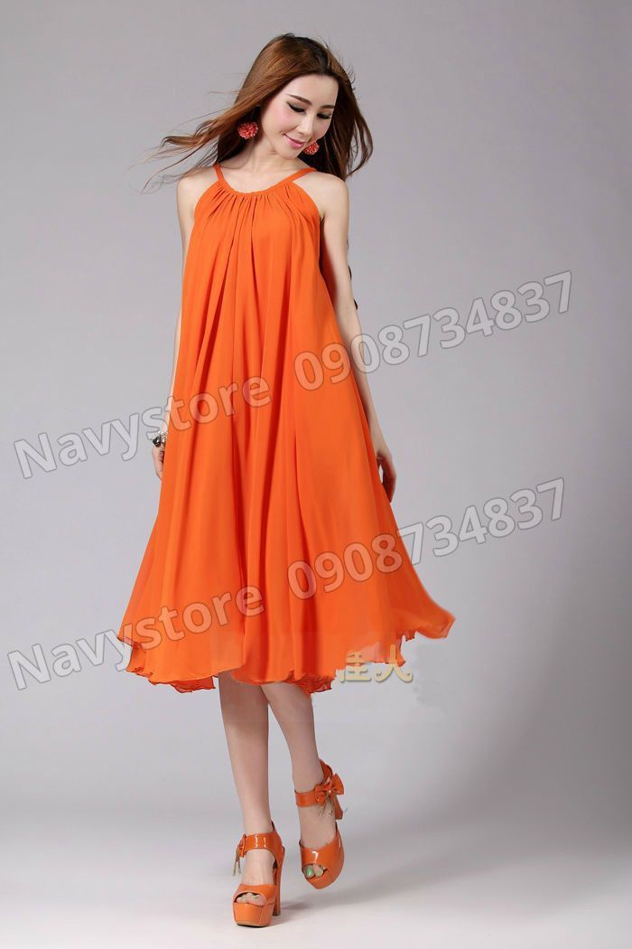 Đầm bầu cổ yếm suông 2