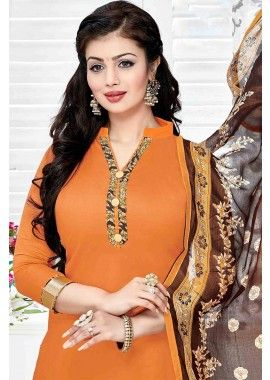 Orange Cotton Patiala Salwar Kameez, -Rs. 1,128.00, #IndianDresses #PatialaSuitOnline #Fashion #Shopkund