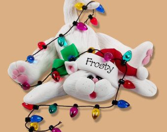 Christmas Cat Kitty with Lights Polymer Clay Personalized Christmas Ornament