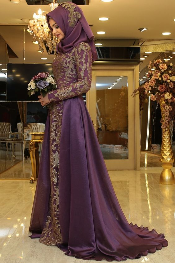 Long luxurious fancy touch appliqué and embroidered gown can allure their modern styling with head a