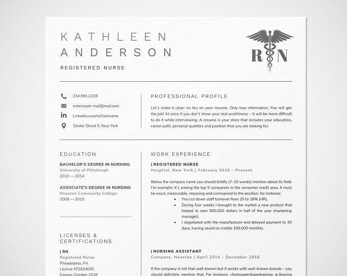 New Nurse Resume Template Registered Nurse Resume Template Etsy Nursing Resume Template Registered Nurse Resume Medical Resume Template