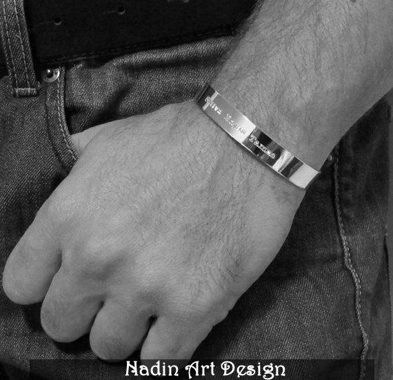 Sterling Silber Armband / Herrenarmband mit Gravur von NadinArtDesign auf DaWanda.com