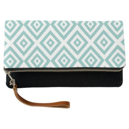 Abstract geometric pattern - blue and white. clutch - holidays diy custom design cyo holiday family