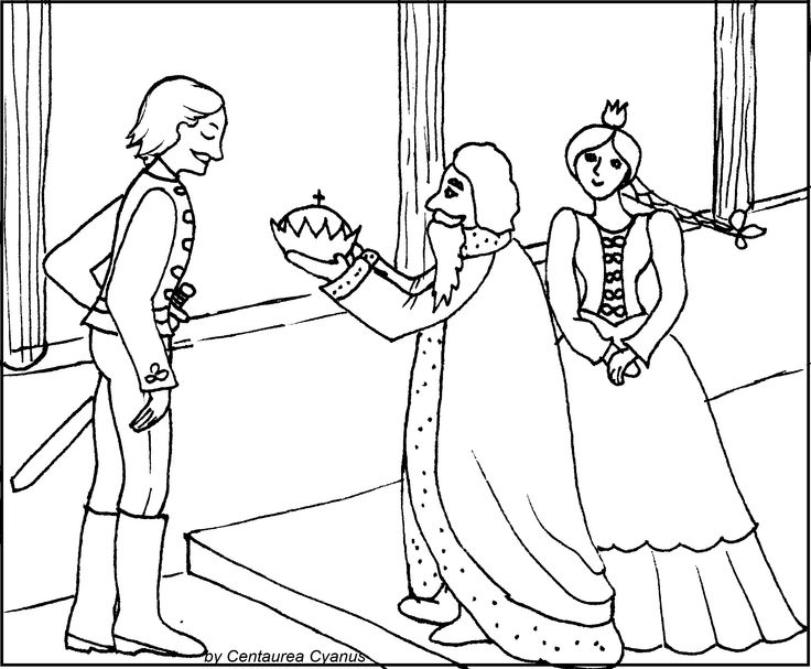 free coloring page by centaurea cyanus - hungarian tale - tale illustration - The secretive little boy and his sword - A titkolódzó kisfiú és az ő kis kardja - princess - old king