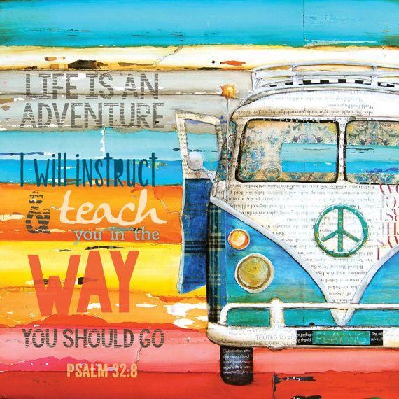 ART PRINT, Life Is An Adventure, Vw van print, volkswagen, beach art, summer gift, christian print, quote, positive, scripture,  All Sizes
