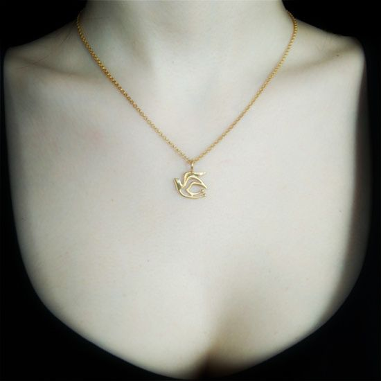Hope bird - gold plated silver necklace