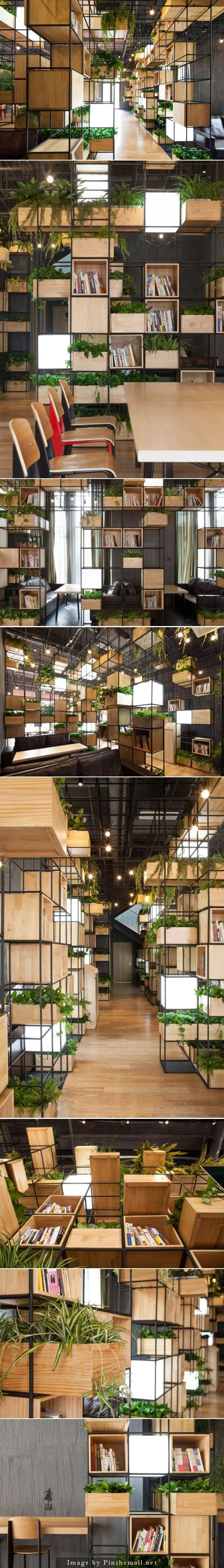 PENDA - Modular shelves & planters - Wooden box shelves and planters and light cubes populate a gridded metal framework