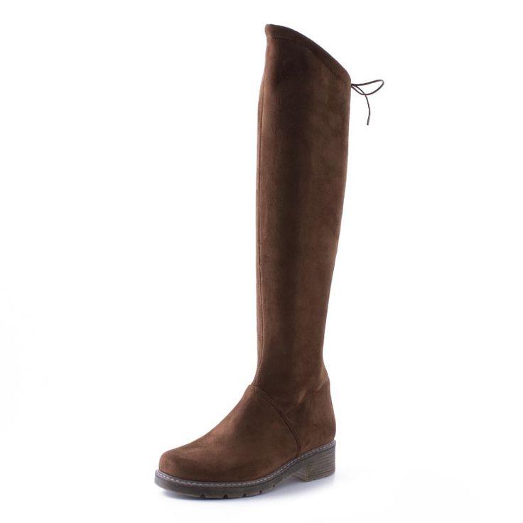Γυναικείες Μπότες Carad από συνθετικό καστόρι, σε ταμπά χρώμα. Διαθέτουν φερμουάρ στην εσωτερική πλευρά και σόλα από μαλακό λάστιχο. Ύψος στελέχους, 49 cm. Περιφέρεια γάμπας, 33 cm.