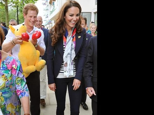 Will and Kate and Harry visit athletes at Olympic Park