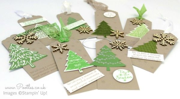 Stampin' Up! Demonstrator Pootles - Perfect Peaceful Pines - Christmas Tags Full Set