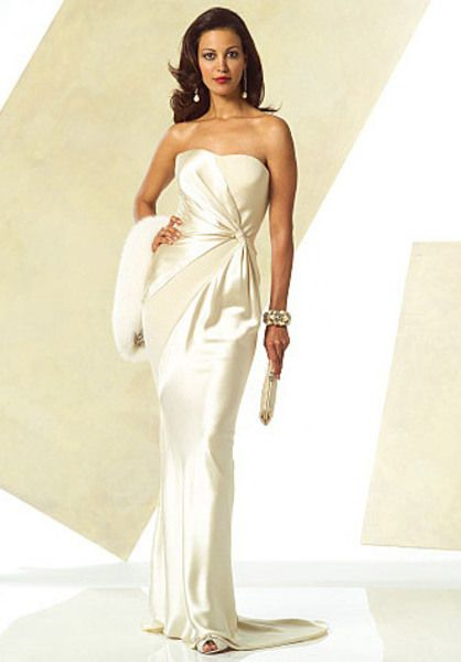 Awesome Plus Size Strapless Bias Cut Evening Gown Sewing Pattern Hollywood Glamour Sheath Dress Vogue Sizes uncut