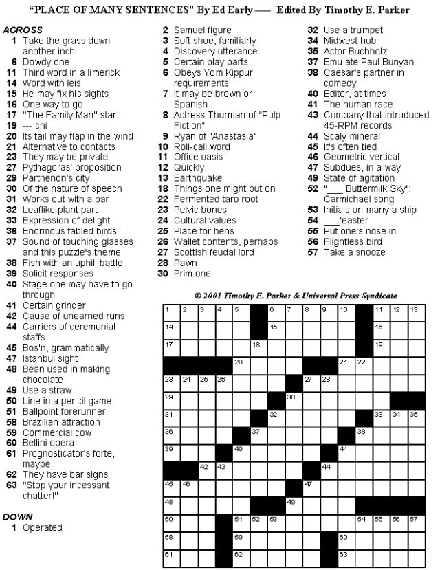 Crossword Puzzles to Print and Solve - Volume 25: Print-friendly Crossword Puzzles - Volume 25 - Page 1