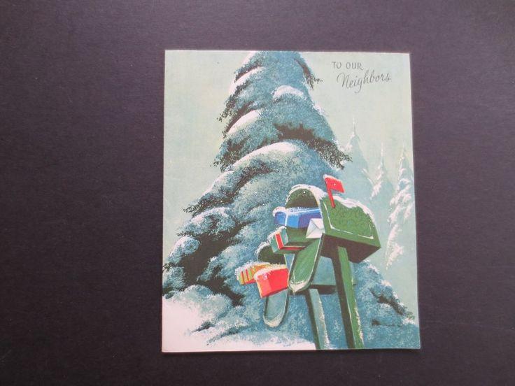 #K357- Vintage Unused Glittered Xmas Greeting Card Snow Covered Trees & Mailbox