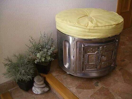 Asiento hecho con tambor de lavadora