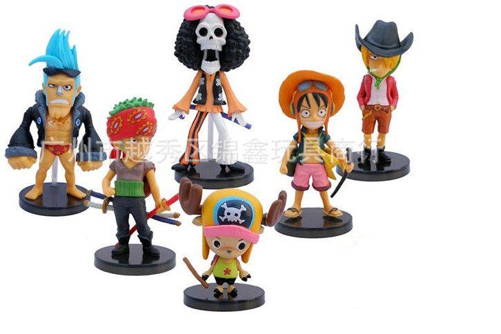 Высокое качество! 6 шт./упак. одна часть соломенная шляпа пираты группа золотой лев театр версия черный костюм 6 - 8 см фигурки пвх игрушки куклы