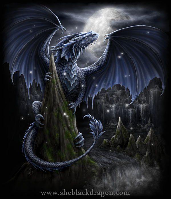 Blue Moon Dragon - T-shirt design for Dark Side Clothing © Linda M Jones