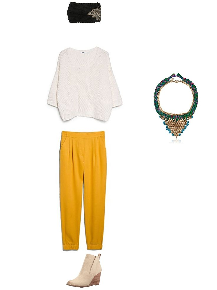 Yellow pants outfit with yellow pants, black headwrap, cream boots and gold necklace #outfitswipe