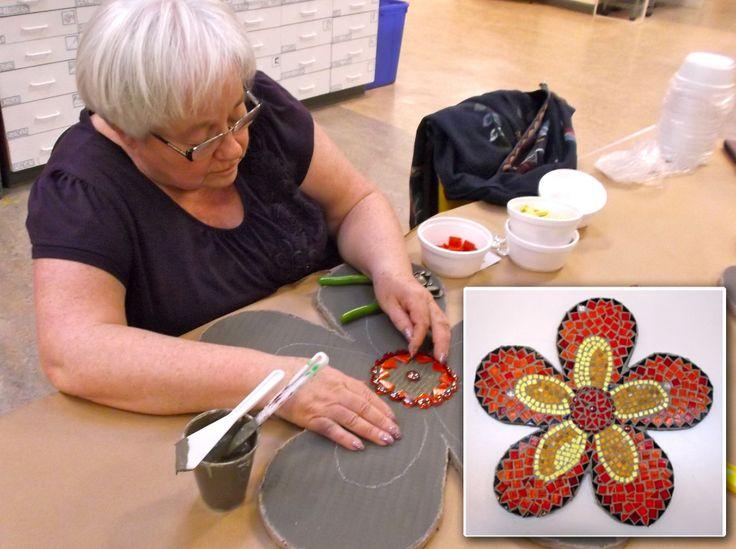 Mosaic Flower Workshop with Julie Ridley #communityart #mosaics #artideas