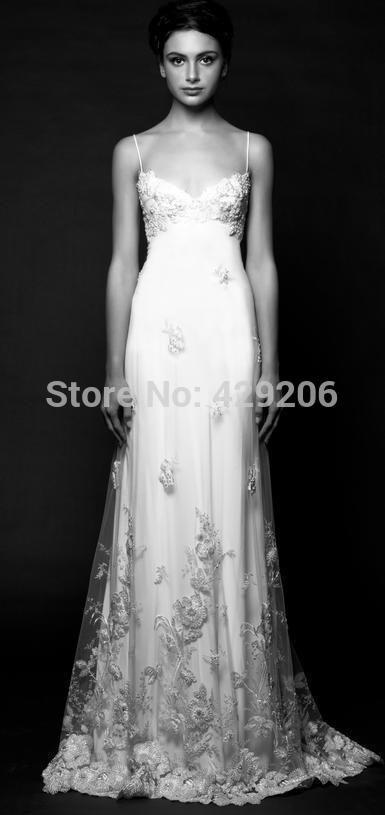 Элегантный империи сатинировки свадебные платья 2016 Vestidos Novia спагетти рукавов развертки поезд длиной до пола , вышитые аппликация