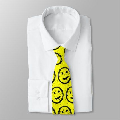 Spilled Stained Happy Smiley face pattern Yellow Tie - accessories accessory gift idea stylish unique custom