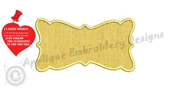 Frame Embroidery Applique Design Shapes Applique-Labels