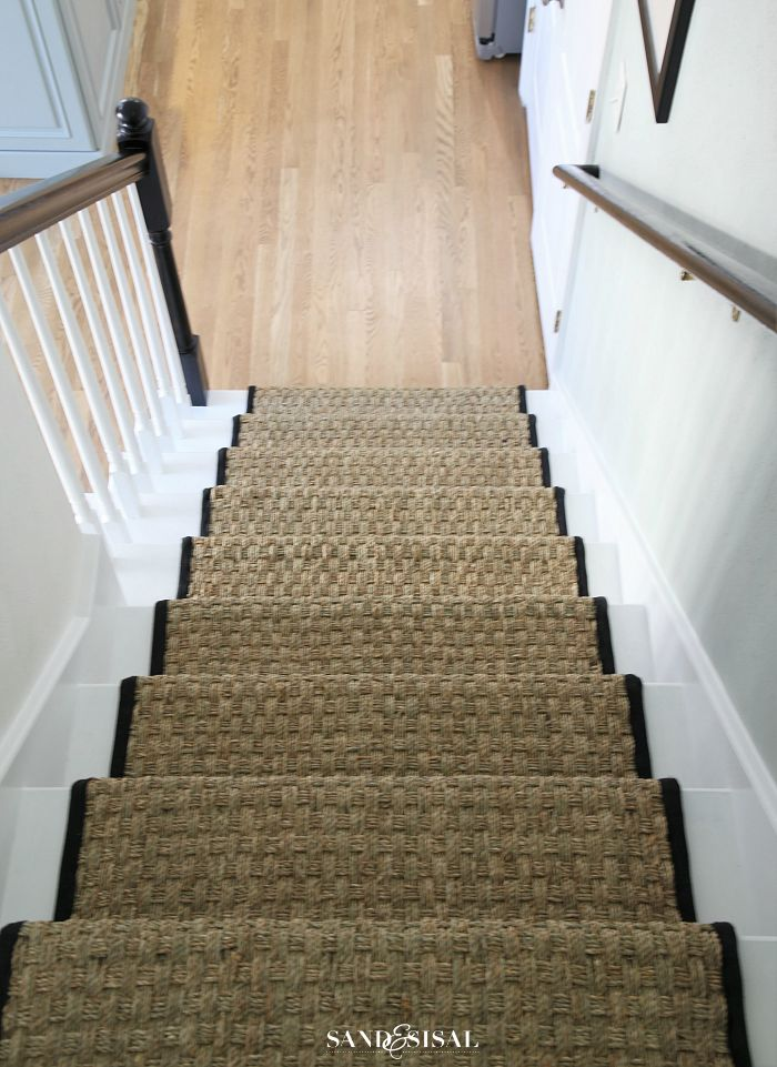 Painted Staircase Makeover with Seagrass Stair Runner ...