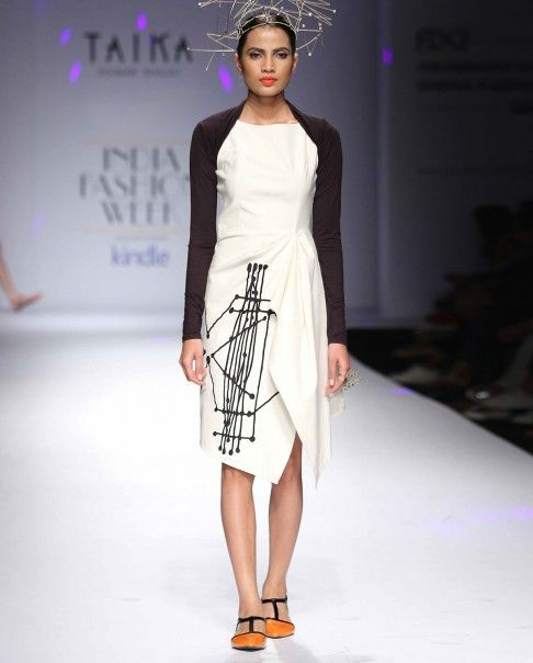 Ivory Handkerchief Dress with Graphic Applique