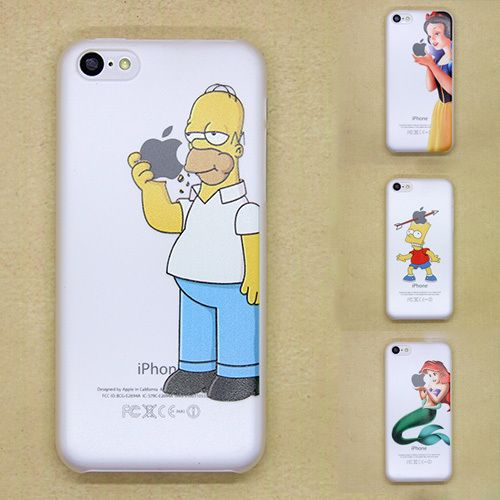 2015 New arrive For Apple i Phone iPhone 5C case Transparent Simpson Snow White Hand grasp the logo cell phone cases covers