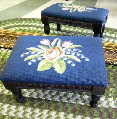 Antique Victorian ROSES Needlepoint Walnut Foot Stool Ottoman FLOWERS