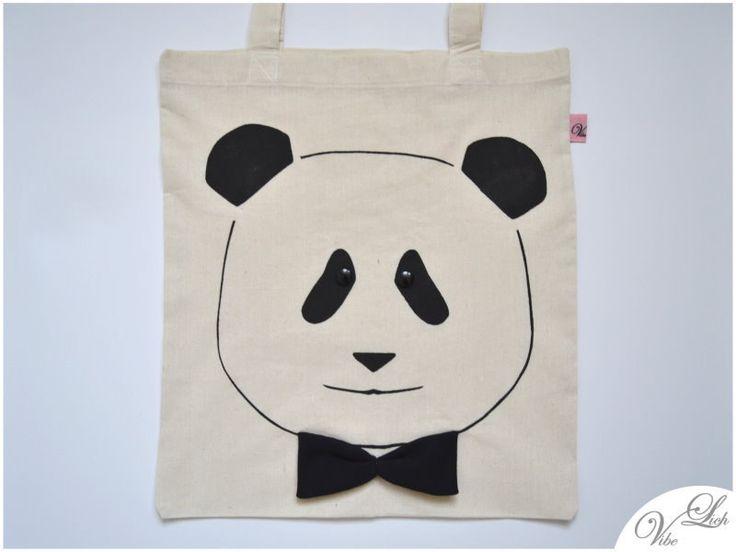 Jutebeutel - Panda mit Knopfaugen und Fliege Jutebeutel, Beutel - ein Designerstück von VibeLich_HIPBAGS bei DaWanda