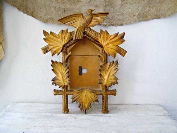 Rustic Wood Cuckoo clock House Handcarved wood clock by MeshuMaSH, $52.00
