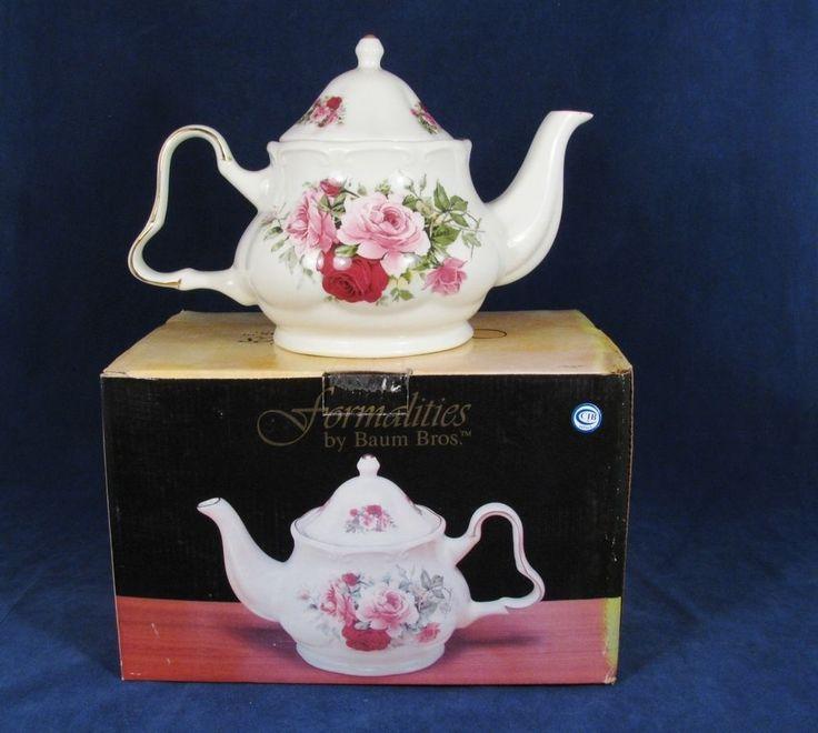 FORMALITIES by BAUM BROS Victorian Rose TEAPOT Serveware Shabby Chic Kitchen NIB