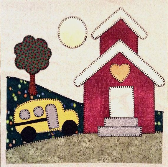 September Schoolhouse Appliqued Quilt Block The Coloring Book Style Is Appealing To Me