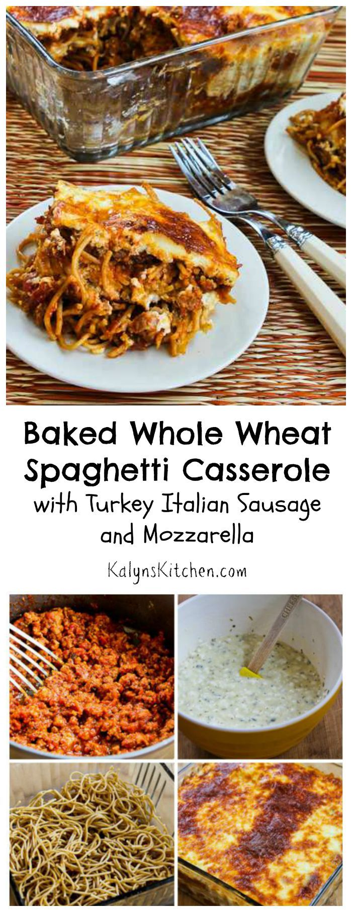 It's almost time for #BackToSchool; time to start collecting easy casserole recipes for school-night dinners! This Baked Whole Wheat Spaghetti Casserole is easy and delicious.  [from KalynsKitchen.com] #healthy #casserole