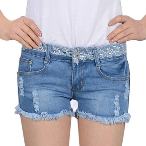 Womens Worn Hem Loose Shorts Jeans Denim Lace-top Pants Asian Size 26 Light Blue