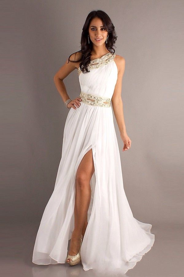 So pretty! Love the flowy chiffon and gold accents on this one-shoulder dress.