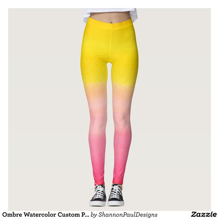 Ombre Watercolor Custom Pink & Yellow Leggings : Beautiful #Yoga Pants - #Exercise Leggings and #Running Tights - Health and Training Inspiration - Clothing for #Fitspiration and #Fitspo - #Fitness and #Gym #Inspo - #Motivational #Workout Clothes - Style AND #comfort can both be possible in one perfect pair of custom #leggings. #Ombre Watercolor Custom Pink & Yellow Leggings was crafted made with care each pair of leggings is printed before being sewn allowing for #fun and #creative designs…