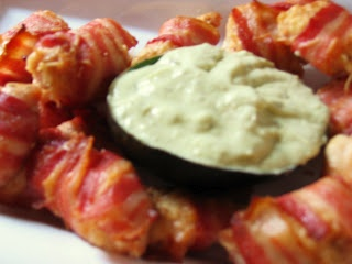 Mmm... Meat (Or Bacon-Wrapped Chicken Tenderloins with Avocado Ranch Sauce