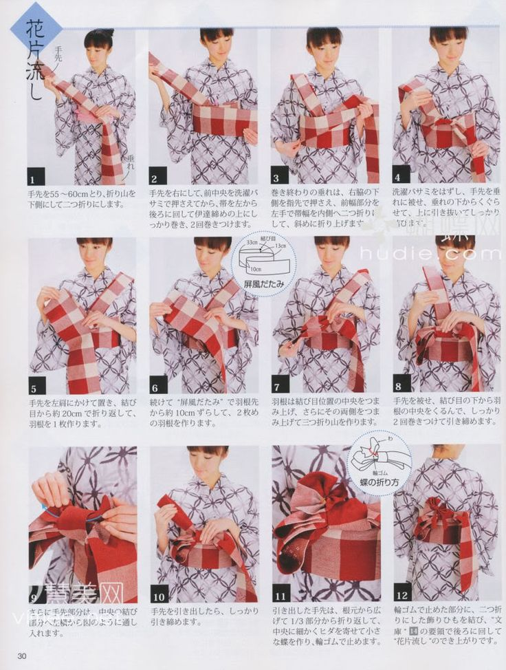 How to tie Hanhaba (?) obi into yet to be determined musubi, worn with yukata.
