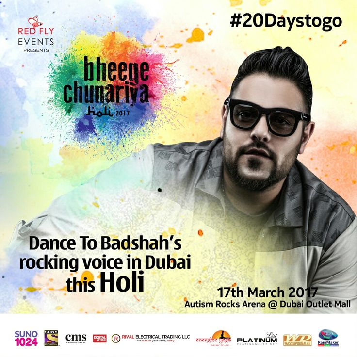 Join us for a Grand Holi Dhamaka & Jam this Holi with Rap sensation Badshah!!!!!!!  Come and celebrate Holi in Bollywood style on March 17 at Autism Rocks Arena, near Dubai Outlet Mall...Stay tuned for more updates!  #DubaiHoli #Holi2017 #BollywoodstyleHoli #Rockstars #HrithikRoshan #NeetiMohan #SonuSood #VishalShekhar #Badshah #Holisongs #Dhamaal #forgiveness #Redflyevents #Masti #Dubai #HoliConcert
