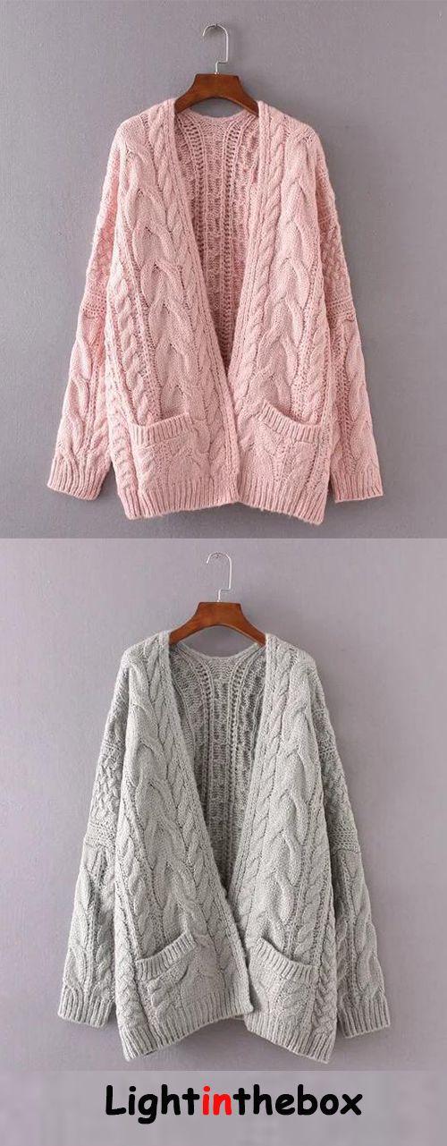 Women's Casual/Daily Regular Cardigan,Solid V Neck Long Sleeves Acrylic Fall Winter Cardigan