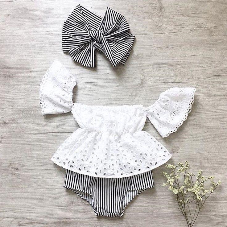 Details über USA-Baby-Mädchen weg von den Schulteroberteilen streift Kurzes Briefs 3pcs Outfits kleidet Sommer